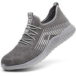 SUADEEX Zapatillas de Seguridad con Puntera de Acero Hombre Mujer Transpirables Zapatillas de Senderismo Deportivas Antideslizante Unisex