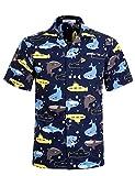 APTRO Herren Hemd Strandhemd Hawaiihemd Kurzarm Urlaub Hemd Freizeit Reise Hemd Party Hemd BT015 XXL