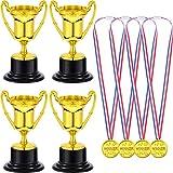Blulu 12 Piezas de Trofeo de Premio Dorado de Plástico de Niños y 12 Piezas de Medalla de Ganador Dorada de Plástico para Favores de Fiesta Premios