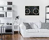 DekoShop Bilder Vintage Fahrrad Leinwandbilder Wandbild Kunstdrucke AMDPS20249S7 S7 (120cm. x 80cm. (4x30x80)) Rad Grun Aufschrift Blau Radrennfahrer Fahrrad 4 Teile