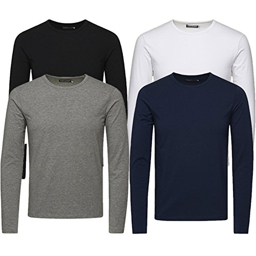 Jack & Jones Herren Langarmshirt 4er Pack Rundhals Basic LS Shirt Longsleeve Tee Core O-Neck S M L XL XXL (L, # 4er Pack Mix)