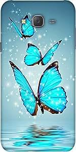Snoogg Blue Butterfly Digital Designer Protective Back Case Cover For Samsung J7