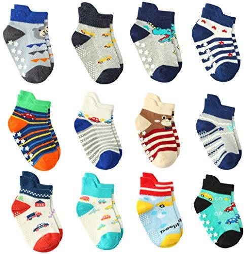 12 Paar Kleinkind Jungen ABS Rutschfeste Socken Nette Baumwolle mit Griffen, Baby Jungen Anti Rutsch Socken (12 Paare, 3-5 Jahre) -