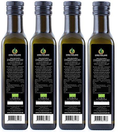 BIO Hanföl • BIO-zertifiziert • 1 Liter • 4x 250 ml • kaltgepresst • 100% naturrein • rein nativ • Frischegarantie: mühlenfrisch direkt vom Hersteller Kräuterland Natur-Ölmühle • Premium Qualität - 2