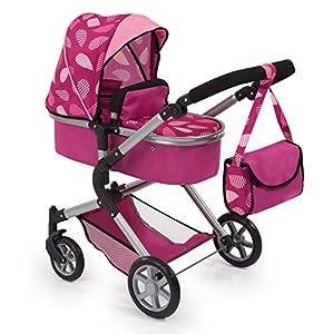 Bayer Design 18147AA Carrito para muñecas Neo Star con Bolso Cambiador y Cesta de la Compra Debajo Convertable para Carrito de bebé, Color Burdeos con patrón