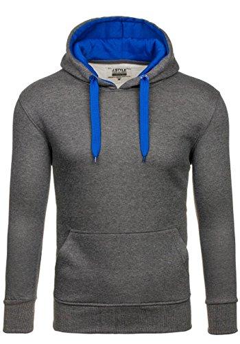 BOLF Herren Kapuzenpullover Sweatjacke Sweatshirt Hoodie Pullover Mix 1A1  Pulli Anthrazit-Mittelblau 2075-2 e0f05f5ab2