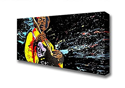 Panoramic Jimi Hendrix Colours Canvas Art Prints - Extra Large 28 x 64 inches