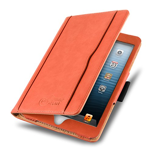 JAMMYLIZARD Hülle für iPad Mini | Ledertasche Flip Case [Business Tasche] Leder Smart Cover Lederhülle für iPad Mini 4. 3. 2. & 1. Generation, Orange & Honig [mit Eingabestift & Pencil Halter]