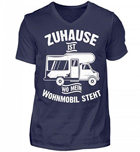 Hochwertiges Herren V-Neck Shirt - Camping Camper Wohnwagen Wohnmobil Campingplatz Zuhause Geschenk