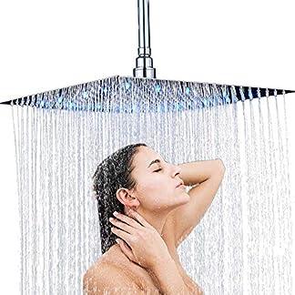 Onyzpily – Alcachofa de ducha LED de 16 pulgadas, 3 colores, acero inoxidable pulido cromado, efecto lluvia, elegante, cuadrada, ultrafina, sensor de temperatura, montado en la pared o en el techo