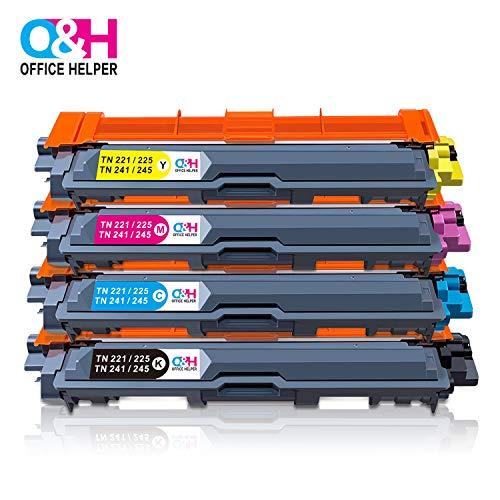 Office helper - 4 tn-241 tn-242 tn-245 tn-246 cartucce per toner, compatibili con stampante brother dcp-9015cdw dcp-9017cdw dcp-9020cdw dcp-9022cdw all-in-one wireless, hl-3140cw hl-3142cw hl-3150cdw hl-3150cdn hl-3152cdw hl-3170cdw hl-3172cdw, mfc-9130cdn mfc-9130cw mfc-9140cdn mfc-9330 mfc-9330cdw mfc-9332cdw mfc-9340 mfc-9340cdw mfc-9142cdn mfc-9342cdw colour laser, (1*nero, 1*ciano, 1*magenta, 1*giallo)