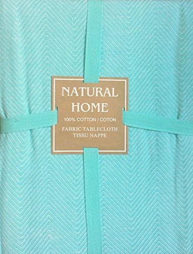 ukturierte Chevron Fischgrat Baumwolle Natur Home Weiß auf Türkis Blau Grün --152,4cm von 213,4cm ()