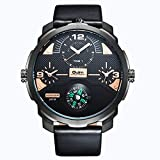 QY OULM Men ' S Quartz Watch Tre Movimenti Bussola Comode Orologi in Pelle Cinturino in Pelle Quadrante Orologio da Polso,Gold
