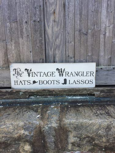 Stan256Nancy The Vintage Wrangler Hüte Stiefel Lassos Western Wall Decor Cowgirl Home Art Cowboy Art Farmhouse Stil Rustikal Holz Schild Art Wand -
