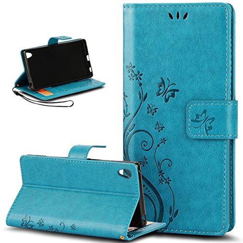 ikasus Compatible avec Coque Sony Xperia Z5 Compact Etui Motif Embosser Fleur de Papillon Housse Cuir PU Etui Housse Coque Portefeuille Protection supporter Flip Case Etui Housse Coque,Bleu