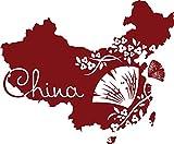 GRAZDesign 630369_57_030 Wandtattoo Sticker für Wohnzimmer Büro China Karte Länder Umriss Fächer Lotus (69x57cm//030 dunkelrot)