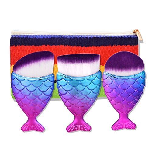 Fashion Base® 2017 Crazy Hot Pro Rainbown Gradient Mermaid Maquiagem Fond de teint poudre Pinceaux de maquillage écailles de poisson Pinceaux Maquillage épi Bas Cosmétique Contour Blush Brosse de