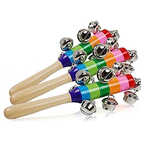 Hangqiao Baby Holz Stick Shaker 10 Glocke Klingel Musikinstrument Spielzeug Hand Glocken