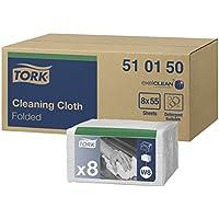 Tork 510150 Paño de limpieza Premium / 1 capa/Paños multiuso compatibles con el sistema W8 / 8 paquetes x 55 paños (440 piezas) / color blanco