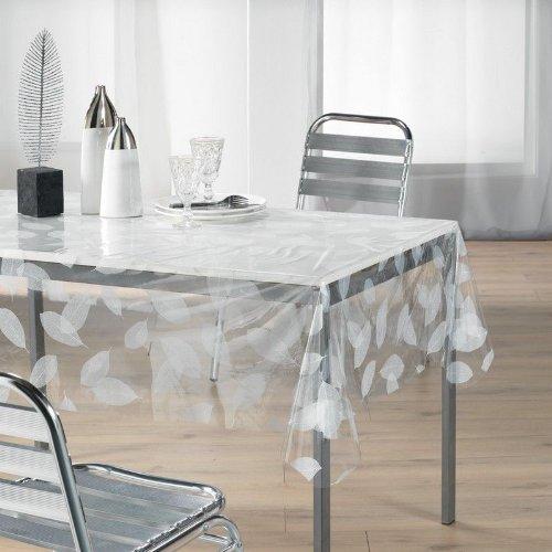 Nappe - Cristal transparent rectangle - 140 x 240 cm - Feuille blanche