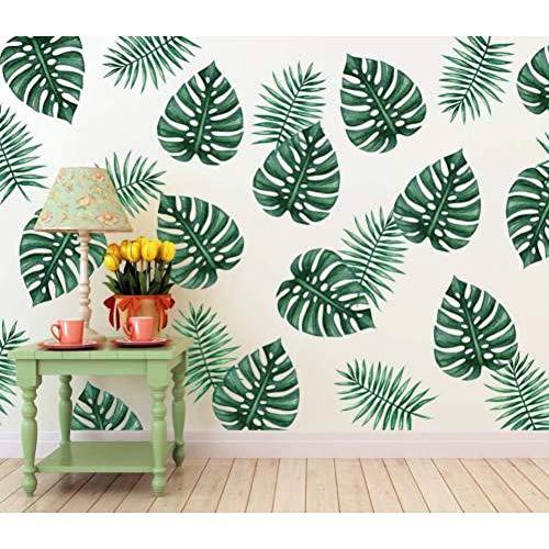 ZKTBZD Wandaufkleber Diy Vinyl Palm Leaf Wandaufkleber Entfernbare Tropische Blätter Für Wohnzimmer Küche Dekoration Wandtattoos