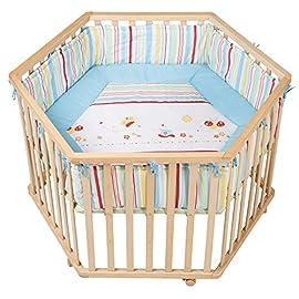 Roba Box Esagonale 'butterfly', Box per Giocare in Sicurezza Incluso Paracolpi e Ruote, Color Legno Naturale