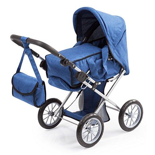 Bayer Design 13635AA City Star, Kombi Puppenwagen, für Puppen bis ca. 46cm, mit herausnehmbarer Tragetasche und Umhängetasche, blau, jeans