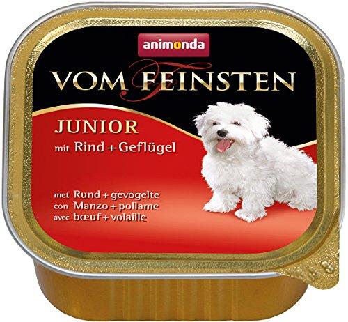 Animonda Vom Feinsten Junior, Nassfutter für junge Hunde im ersten Jahr, mit Geflügel + Putenherzen, 22 x 150 g -