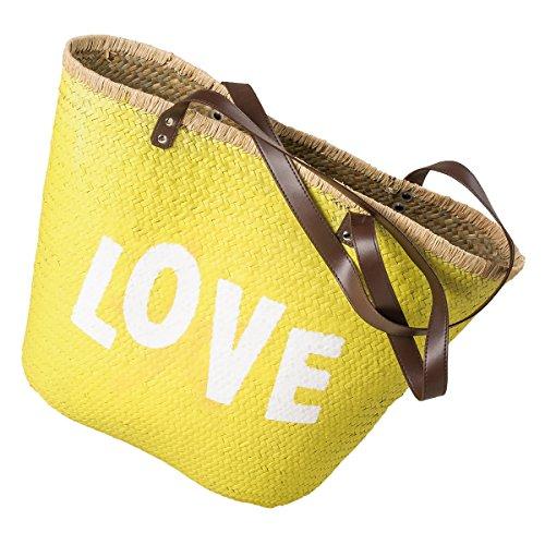 LaFiore24 Einkaufskorb Einkaufstasche Ibiza Korb Love Shopper Strandtasche Sauna Picknickkorb (gelb)