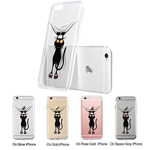 iPhone 7S Case / iPhone 8 Case, Walmark Soft Gel TPU Silicone Case Clear with Design Cute Cartoon Slim Fit Ultra Thin Protective Cover for 4.7 inches iPhone 7/iPhone 8_Naughty Cat