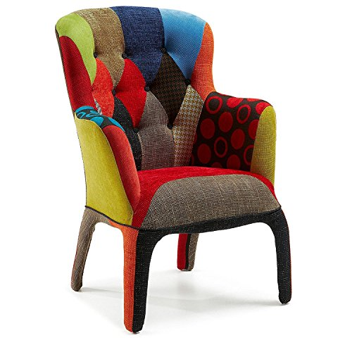 Eglemtek poltrona in tessuto patchwork, poltrona in cotone e struttura di legno, imbottita e rivestita, poltrona salotto ufficio casa, 62.5 x 59 x 101