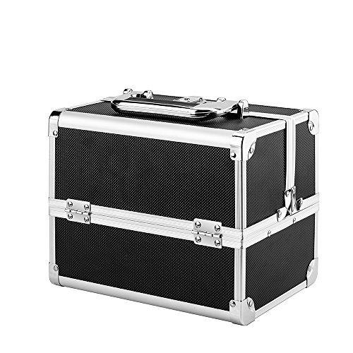 AMASAVA Kosmetikkofer Schminkkoffer Beauty Make-up Case,aus ABS und Aluminium,2 verfügbare Ebene,mit Spiegel und Klappschloss,24cm x 17 cm x 19cm,1.58kg,schwarz