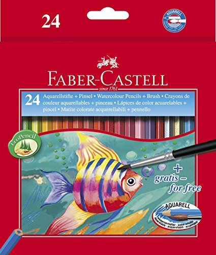 Faber-Castell 114425 – Estuche de 24 ecolápices de color acuarelable, 1 pincel