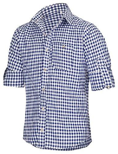 TR Martha Trachtenhemd für Trachten Lederhosen Freizeit Hemd Rot,Balu,Grun-Kariert Gr. S-XXXL Blau
