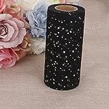 Rouleau Tulle Sequin pour Couture Tutu Artisanal Décoration pour Cérémonie Mariage 22mx15cm Noir