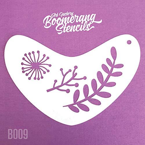 Art Factory Boomerang Stencil - Boho Blätter, wiederverwendbare Gesichtsmalerei Schablone, Groß für Messen, Karneval, Party & Halloween (Große Schablonen Halloween)
