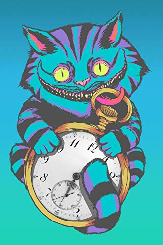 Journal: Grinning Cheshire Cat Face Wonderland with Pocket Time Watch - Black Lined Notebook Writing Diary - 120 Pages 6 x 9 (Pocket Watch Black)
