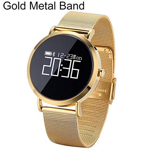 P12cheng, smartwatch per Salute e Fitness, Fitness Tracker, CV08, cardiofrequenzimetro, Bluetooth, in Metallo Argentato Golden Metal