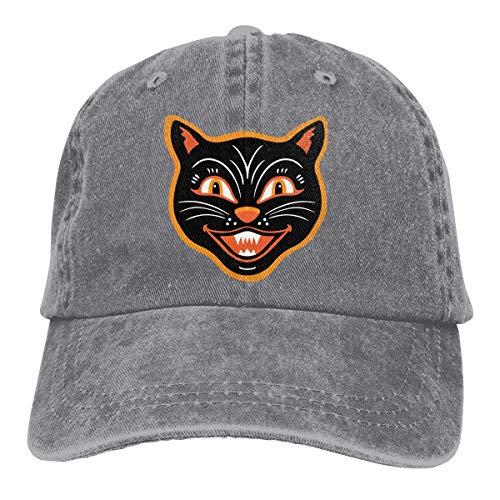 Halloween Vintage Black Cat Unisex Washed Adjustable Fashion Cowboy Hat Denim Baseball Caps