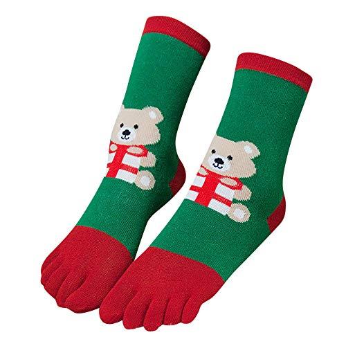 (TPulling Bunte Socken Damen Witzige Socken Weihnachten Deko Schneemann Rentier Christmas Unisex Print Multicolor Zehensocken Fünf Finger Socken Baumwolle Lustige Socken)