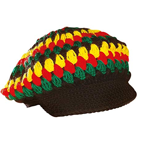 shoperama Reggae Häkel-Mütze mit Schirm Rastaman Rastafari Jamaika Karibik Festival Kappe Kostüm-Zubehör (Mary Jane Kostüm)