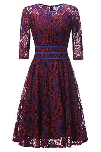 Aiyana Damen Elegant Rot Cocktailkleid Spitzen Lang ärmel Kleid ...