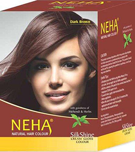 Neha Pflanzliche Natürliche Haarfarbe mit Henna & Kräutern - DUNKEL BRAUN (BOX: 10x15g=150g) | Silk Glanz-Creme Gloss Mehandi (Haar-farbe-creme Kräuter)