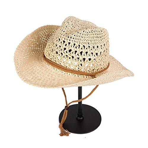 WYYY Chapeau Hommes Chapeau De Soleil Round Top Tissage À La Main Large Bord Protection Contre Le Soleil À L'extérieur ( Couleur : Beige )