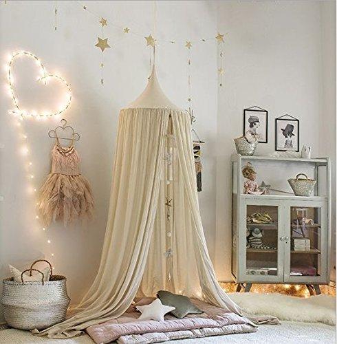 Betthimmel Baldachin aus Baumwolle Leinwand Deko,Bett-Überdachung für Baby-Kind-zelte aus Cotton Canvas,als Mückenschutz Moskitonetz Insekten-Malaria Schutz,Hohe 240cm (Khaki)