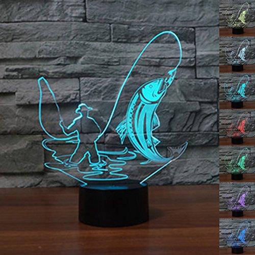 ter 3D Illusion Nachttisch Lampe 7 Farben ändern Schlafen Beleuchtung Smart Touch Button Nette Geschenk Warming präsentieren kreative Dekoration ideale Kunst Handwerk (Angeln) (Lustige Halloween-ideen)