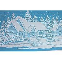 1 Vetrofania Natale 3 soggetti assortiti Babbo Natale slitta - Pupazzo di neve e Pinguini - paesaggio innevato. Cm 55,5x15 da opzionare la scelta