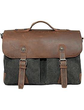 Newvine Herren Damen Handtasche Aktentasche Büffelleder Canvas Tasche Schultertasche Umhängetasche Messenger Bag