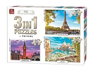 King International 55876 Rompecabezas 3 en 1 - 2 x 1000 y 1 x 500 Piezas - Ciudad - Incluyendo Carteles, Multi