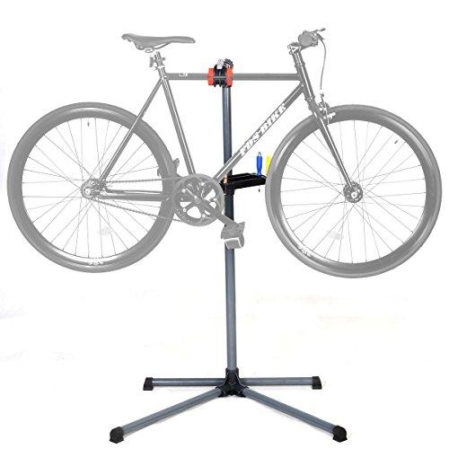 COSTWAY Fahrrad Montageständer vierbeinig, Fahrrad Reparaturständer mit Werkzeugablage, Montageständer höhenverstellbar von 110 bis 145 cm, Fahrradhalterung Blau/Rot